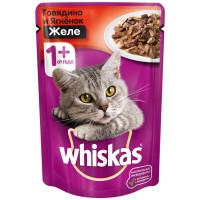 Корм для кошек Whiskas желе с говядиной и ягненком 85г