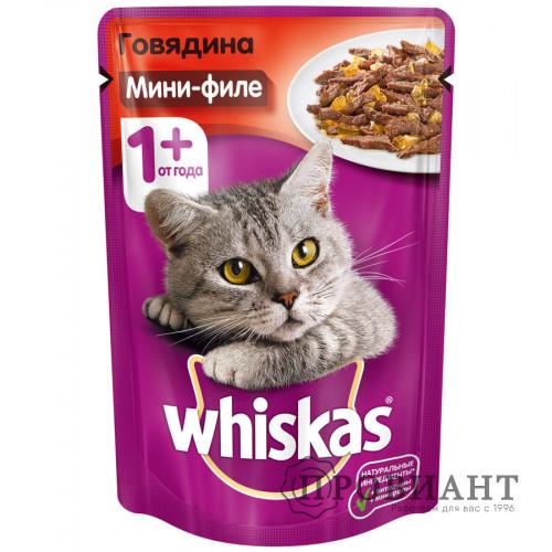 Корм для кошек Whiskas мини-филе с говядиной в желе 85г