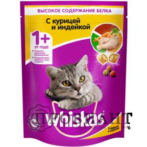 Корм Whiskas для кошек подушечки с курицей и индейкой 800г