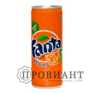 Газированный напиток Fanta апельсин ж/б 0,25л