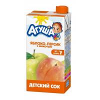 Сок Агуша яблоко-персик с мякотью без сахара 500мл