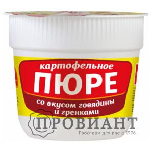Пюре быстрого приготовления Русский аппетит в стаканчике со вкусом говядины и гренками 37г