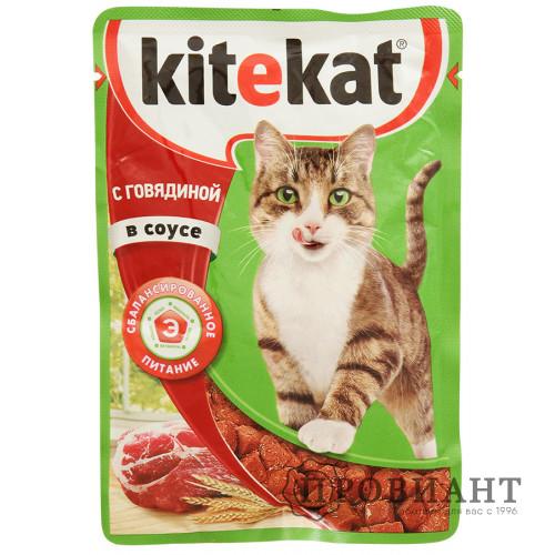Корм для кошек Kitekat говядина в соусе 85г