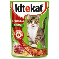 Корм для кошек Kitekat говядина в желе 85г