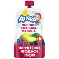 Пюре Агуша яблоко-ежевика-малина 90г