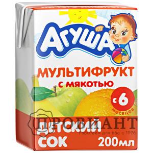 Сок Агуша мультифрукт с мякотью 200мл