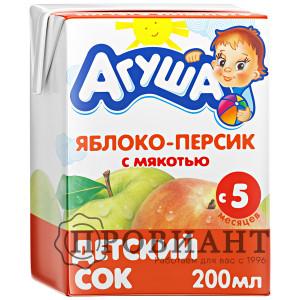Сок Агуша яблоко-персик с мякотью 200мл