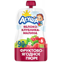 Пюре Агуша яблоко-клубника-малина 90г