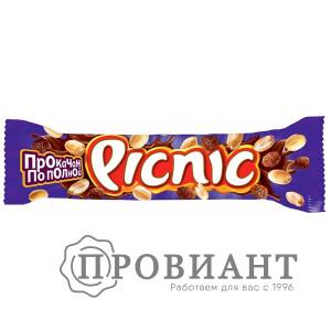 Батончик шоколадный Picnic молочный арахис-изюм 38г