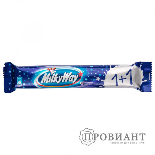 Батончик шоколадный MilkyWay 1+1 молочный с суфле 52г