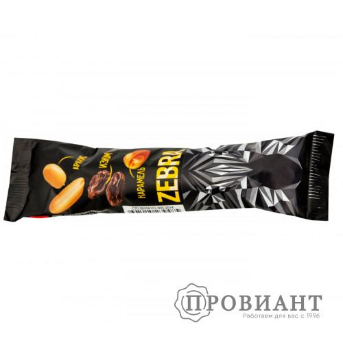 Батончик шоколадный Zebra карамель-арахис-изюм 40г