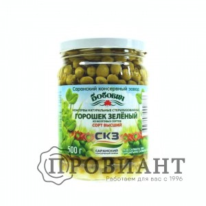 Горошек зеленый Бобович 500г ст.б.