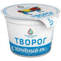 Творог зерненый в сливках Чебаркульское молоко 4% 200г БЗМЖ