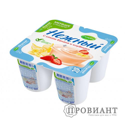 Йогурт Нежный банан-клубника 100г